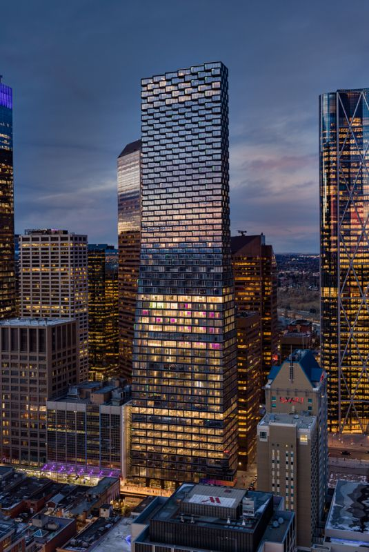 Aerial Architectural Photograph of Calgary Telus Sky by Shawn Talbot Photography