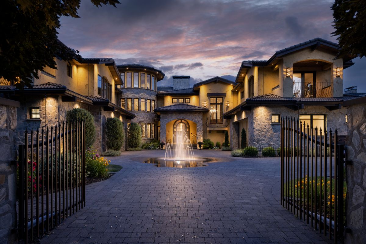 Shawn Talbot Architectural Dusk Exterior Luxury Mansion in Kelowna