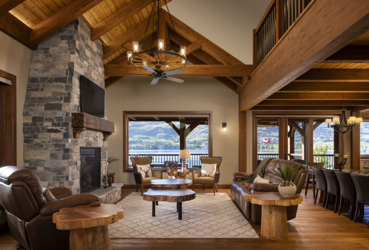Interior architectural photograph by Shawn Talbot of living room in Keith Construction and European Timberframe luxury home in Vernon BC