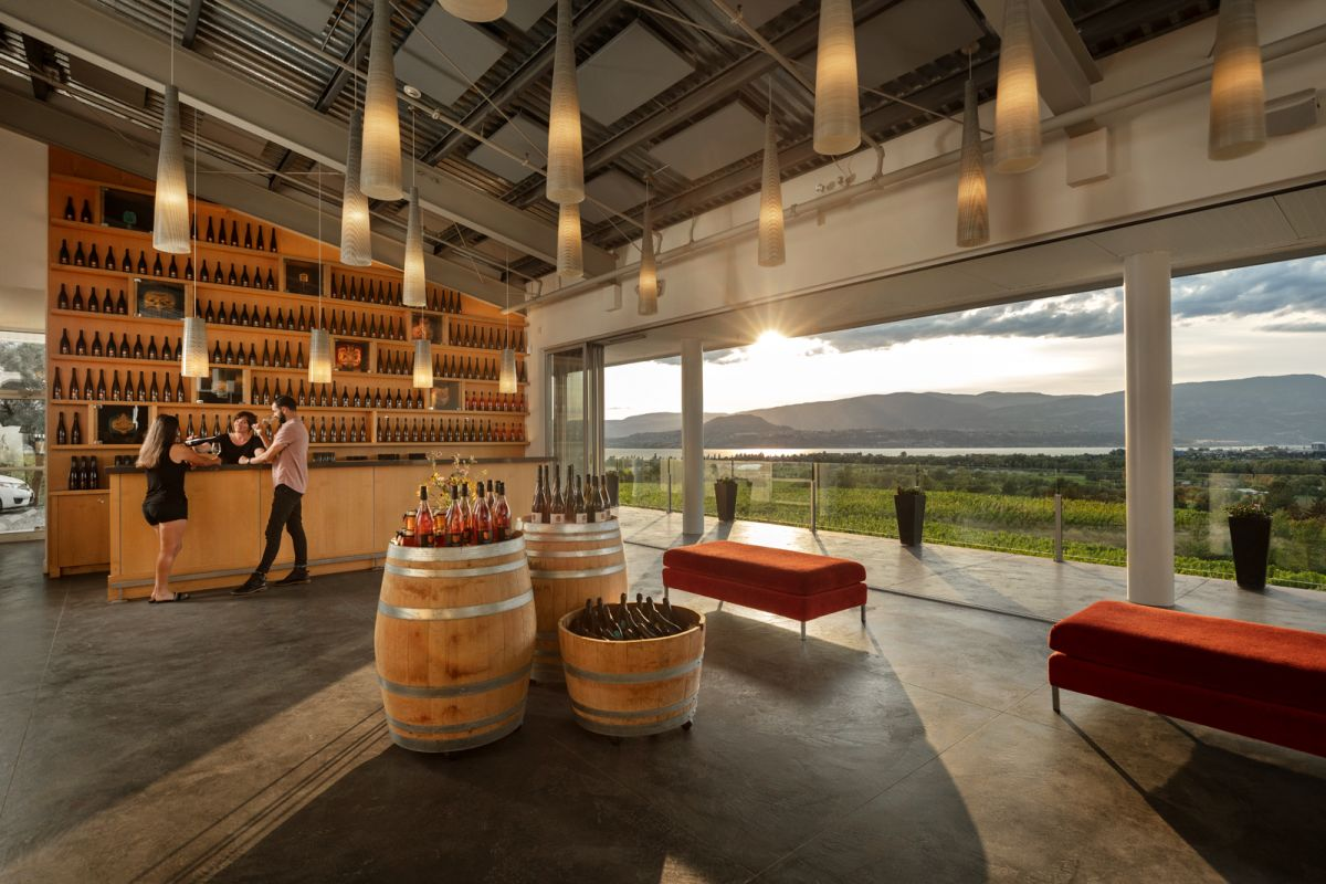 Tantalus Winery Interior Architectural photograph by Shawn Talbot with sunset coming through doors